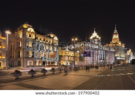 Ornate western colonial architecture at Bund boulevard, Shanghai - stock photo