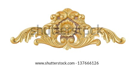 Ornate Wood Carving Ornament on White Background - stock photo