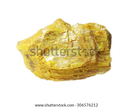 Orpiment mineral - arsenic sulfide isolated on white - stock photo