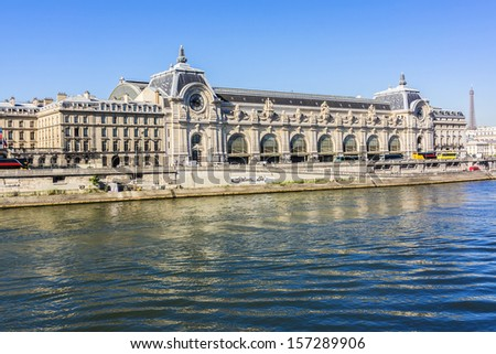 Orsay Museum is a museum in Paris, France, on the left bank of the Seine. It is housed in the former Gare d'Orsay. Orsay holds mainly French art dating from 1848 to 1915. - stock photo