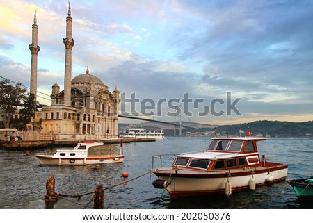 Ortakoy evening in Istanbul - stock photo