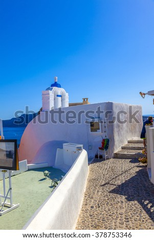 Orthodox Church in fira in Santorini island, Greece - stock photo