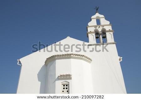 Orthodox church in Gouvia, Corfu island, Greece - stock photo