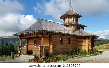 Orthodox church made from wood - stock photo