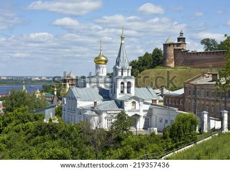 Orthodox church of Saint Ilya and middle ages fortress Kremlin in town Nizhniy Novgorod, Russia. - stock photo