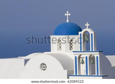 Orthodox Church on Santorini island, Greece - stock photo