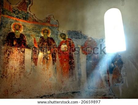 Orthodox monastery in Serbia, Studenica - stock photo