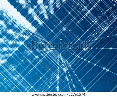 Orthogonal light fibre 3d orthogonal mesh background - stock photo