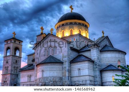 Ortodox church of the Resurrection of Christ in Podgorica Montenegro - stock photo