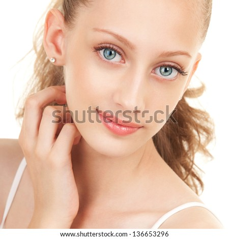 ortrait of young beautiful woman on white background - stock photo
