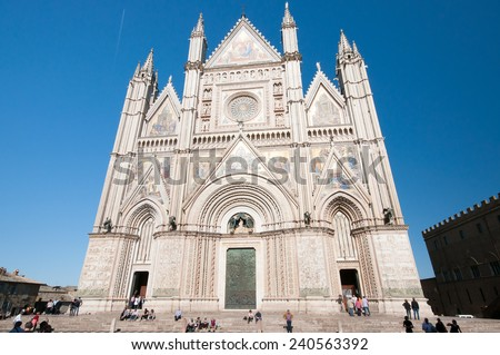 Orvieto, Italy - December 12, 2014: Photo of the facade of Orvieto in Umbria against the blue sky.
