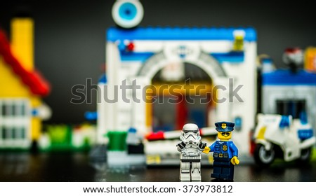 Orvieto, Italy - February 08th 2015: Police at the crime scene.Lego is a popular line of construction toys manufactured by the Lego Group - stock photo