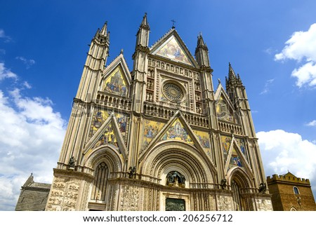 ORVIETO, ITALY-JULY 05, 2014: facade of the medieval Orvieto Duomo cathedral, in Orvieto.