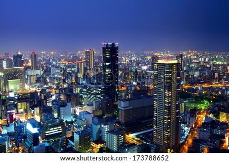 Osaka city at night - stock photo