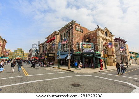 Osaka, Japan - Apr 9:  Shops and restaurants resembling vintage architecture at Universal Studios Theme Park in Osaka, Japan on Apr 9, 2015. - stock photo