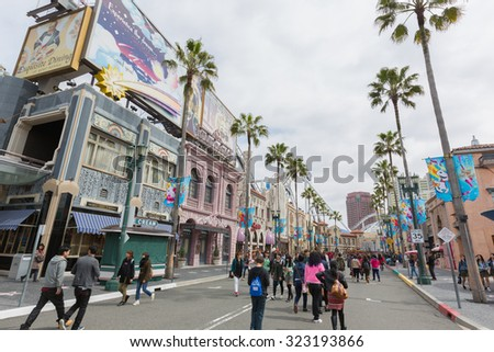 Osaka, Japan - Apr 9, 2015: Universal CityWalk Hollywood is a three block entertainment, dining and shopping promenade located next to theme park at Universal Studios Theme Park in Osaka, Japan.  - stock photo