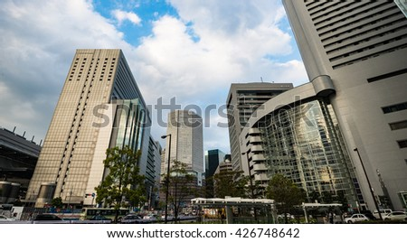 OSAKA, JAPAN - APRIL 19, 2016: Highrise buildings in Osaka.