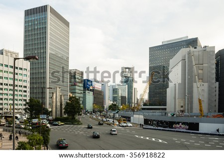OSAKA, JAPAN - DECEMBER 2, 2015: Intersection in front of Osaka Station.