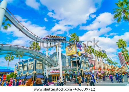 OSAKA, JAPAN - December 1, 2015: Universal Studios Japan (USJ). According to 2014 Theme Index Global Attraction Attendance Report, USJ is ranked fifth among the top 25 amusement parks worldwide. - stock photo