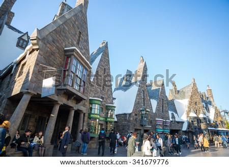 Osaka, Japan - November 10, 2015: The Wizarding World of Harry Potter in Universal Studios Japan. Universal Studios Japan is a theme park in Osaka, Japan.Hogwarts Castle - stock photo