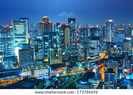 Osaka night - stock photo