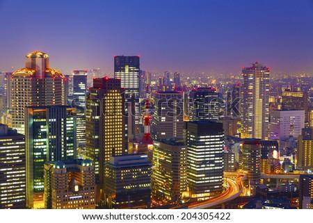 Osaka night view in Japan - stock photo