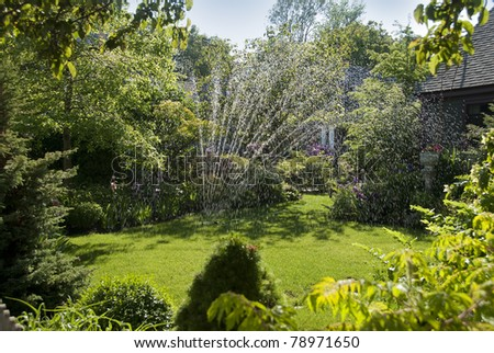Oscillating  sprinkler watering lawn and garden - stock photo