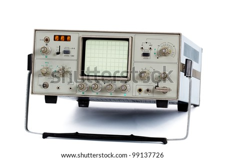 Oscilloscope, isolated on a white background - stock photo