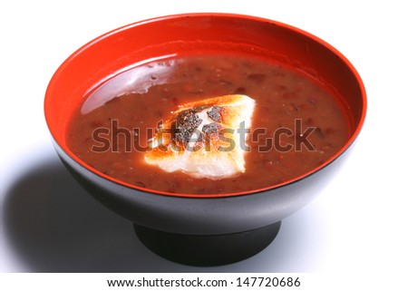 OSHIRUKO : Hot Sweet Red Beans with Broiled Rice Cake