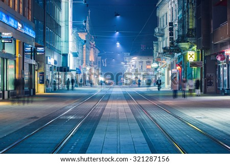 OSIJEK, CROATIA - September 25, 2015: Main street often called 'Korzo' in Slavonian town of Osijek, in east Croatia - stock photo