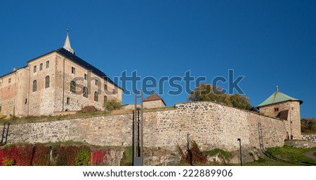 Oslo Akershus Fortress at late autumn - stock photo