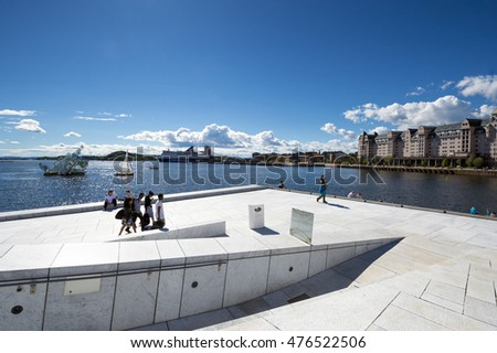OSLO - AUGUST 14,Opera House In Oslo Norway.The National Oslo Opera House on August 14, 2016 in Oslo