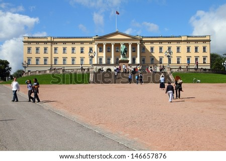 OSLO - AUGUST 21: People visit Royal Palace on August 21, 2010 in Oslo, Norway. In 2010 foreign tourists had 7.9 overnight stays in Norway. Oslo is the capital city of Norway.