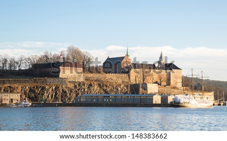 Oslo Fjord harbor and Akershus Fortress, Oslo, Norway - stock photo