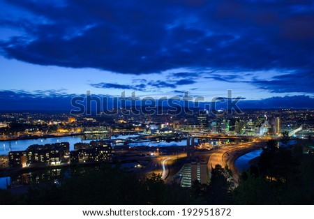 Oslo from the east side of Oslofjord, nighttime - stock photo