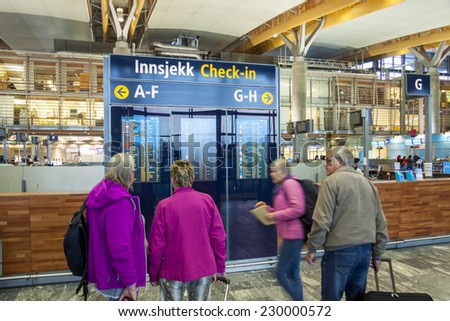 OSLO GARDERMOEN, NORWAY -  NOVEMBER 2:Interior of Oslo Gardermoen International Airport on november 2, 2014 in Oslo. The airport has biggest passenger flow in Norway. - stock photo