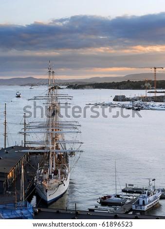 Oslo harbor in the  beautifull sunset. Norway - stock photo