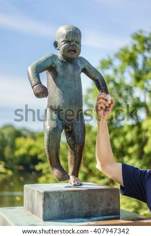 OSLO, NORWAY - AUGUST 13, 2015: Sculpture by Gustav Vigeland (1869-1943) in the Vigeland Park.
