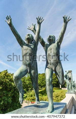 OSLO, NORWAY - AUGUST 13, 2015: Sculpture by Gustav Vigeland (1869-1943) in the Vigeland Park. - stock photo
