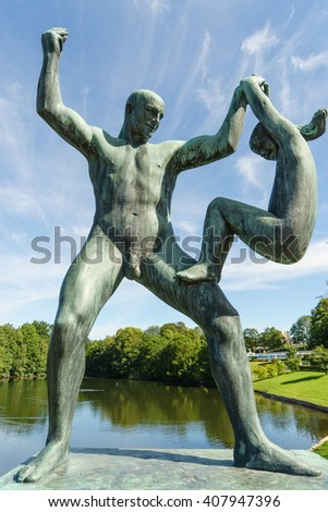 OSLO, NORWAY - AUGUST 13, 2015: Sculpture of father and daughter by Gustav Vigeland (1869-1943) in the Vigeland Park. - stock photo