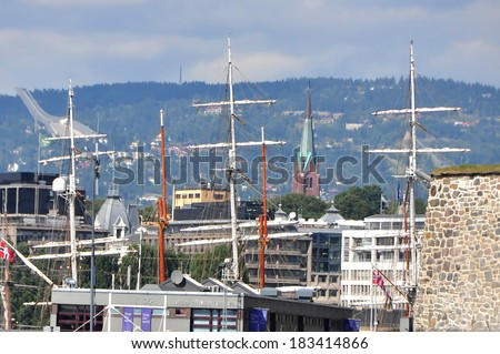 OSLO, NORWAY - AUGUST 17: The Oslo's berth on 17 August 2012 in Norway. Oslo is located on the northern shore of the Fjord.
