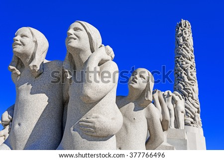 OSLO, NORWAY - AUGUST 27, 2012: The Vigeland Park. Sculptures of Gustav Vigeland. Fragment of the Monolith composition. in Oslo, Norway on August 27, 2012 - stock photo