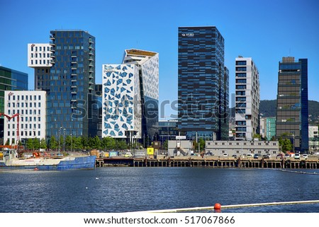 OSLO, NORWAY AUGUST 17, 2016: View of The modern Oslo business district Bjorvika on Dronning Eufemias gate street. Modern architecture in in Oslo, Norway on August 17, 2016.