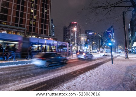 OSLO, NORWAY - JANUARY 7, 2016 : Moving car with blur light at night in Oslo, Norway on January 7, 2016.