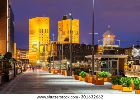 OSLO, NORWAY - JULY 13: Aker Brygge at night - one of Norway's most popular locations with around 12 million visitors annually, on July 13 2015 in Oslo, Norway. - stock photo