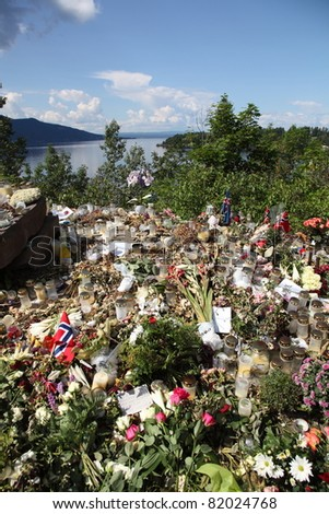 OSLO, NORWAY - JULY 31 : Memory of victims of Norway attack at island Utoya (with Utoya in background) on July 31, 2011 in Oslo