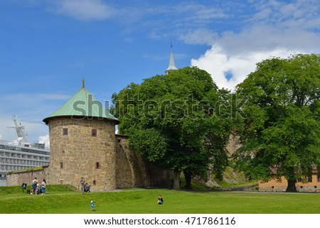 OSLO, NORWAY - JULY 12,2016: Munk's tower of Akershus Fortress was finished in 1559. Tower incorporated three storeys with five gun slits for cannon on each storey