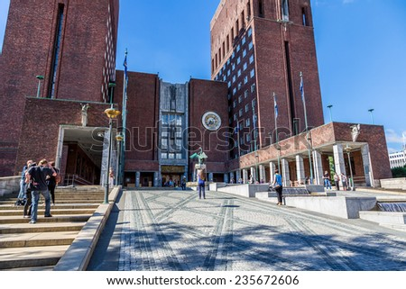 OSLO, NORWAY - JULY 29: Oslo City Hall started in 1931, but was paused by the outbreak of World War II in Oslo, Norway on July 29, 2014 - stock photo