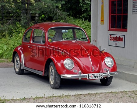 OSLO, NORWAY - JULY 27: Red historical car (Volkswagen Beetle) in Oslo natural museum on July 27, 2011. Norwegian Museum of Cultural History shows history and life of Southern Norway. - stock photo