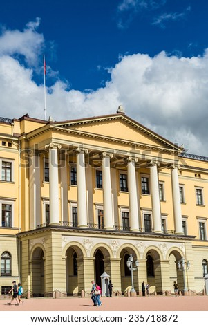 OSLO, NORWAY - JULY 29: The Royal Palace was built in the first half of the 19th century in Norway in Oslo, on July 29, 2014